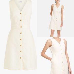 J.crew V-neck button-front dress in linen-cotton